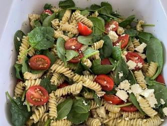 An image relating to Pasta spinach pesto and feta Recipe