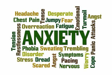words relating to anxiety and different shades of green in different sizes
