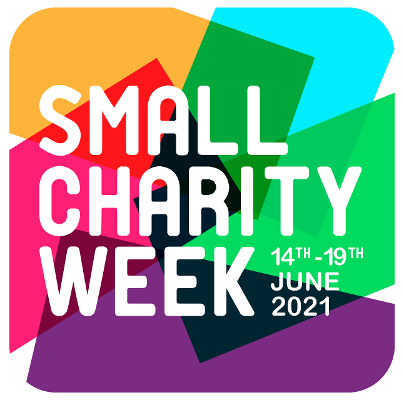 blue purple green yellow background with Small Charity week words in white