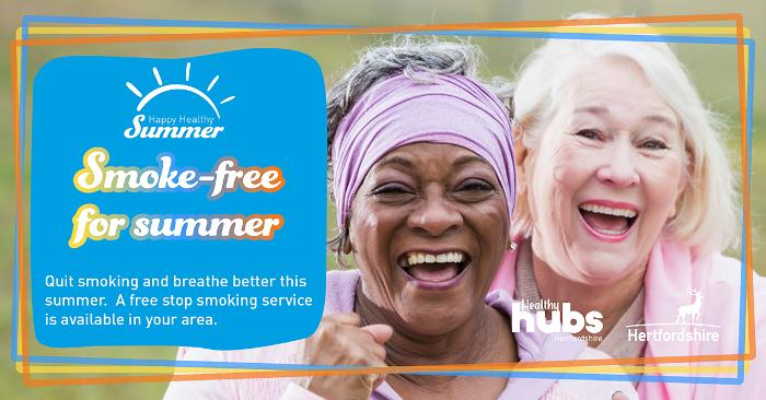 Two woman outside looking happy with the words Smoke free for summer in white on a blue background