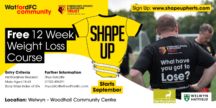 Leaflet in yellow and red with photo of some one in Shape Up t-shirt and writing promoting new course