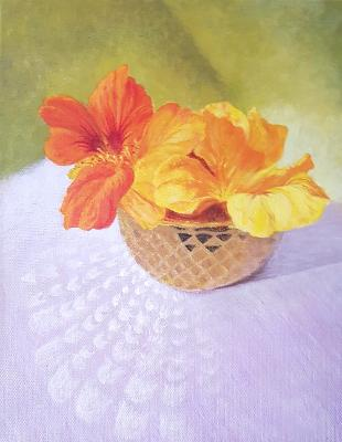 Painting of flower bowl on purple background